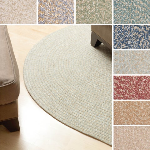 'Urban' Wool Blend Flat Braided Rug (2' x 3' Oval) - 2' x 3'