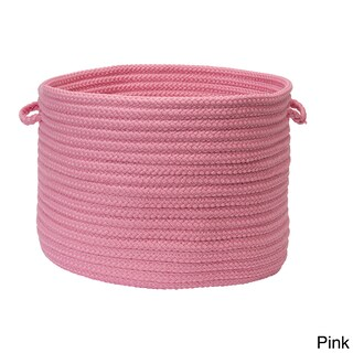 """Solid Braided Storage Baskets (Option: Solid Poly - Pink 14""""x10"""" Utility Basket)"""