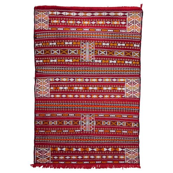 Shop Handmade Moroccan Embroidered Wool Kilim Rug