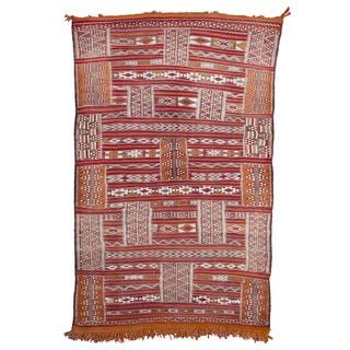 Moroccan Handmade Embroidered Wool Kilim Rug (3'10 x 6')