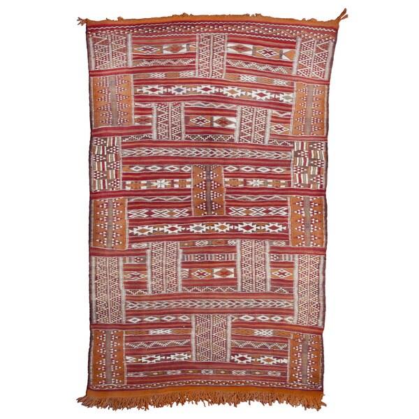 Moroccan Handmade Embroidered Wool Kilim Rug (3'10 X 6