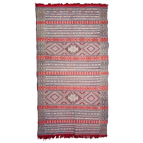Shop Handmade Moroccan Embroidered Wool Kilim Rug (Morocco