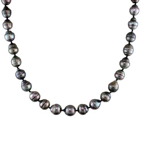 Miadora 14k White Gold Tahitian Black Pearl Necklace (8-11 mm)
