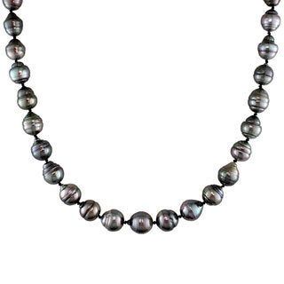 Miadora 14k White Gold Tahitian Black Pearl Necklace (8-11 mm)