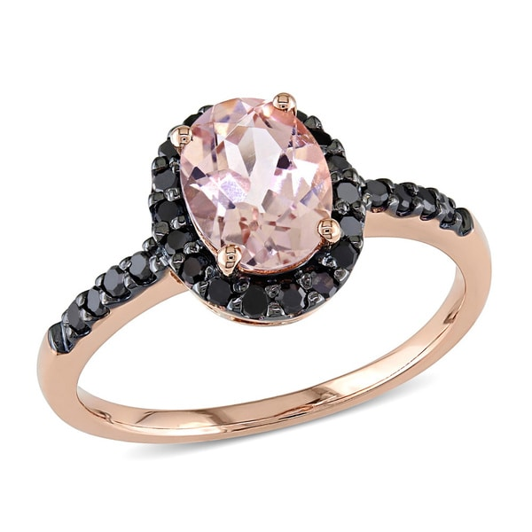 Miadora 14k Rose Gold 1/4ct TDW Black Diamond and Morganite Ring