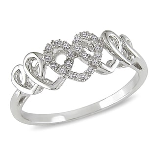 Miadora 14k White Gold 1/10ct TDW Diamond Heart Ring