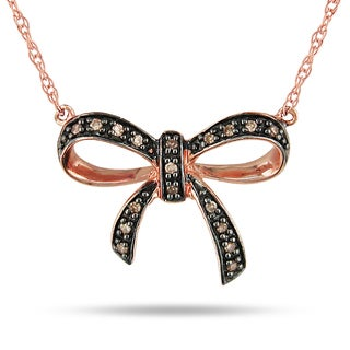Miadora 10k Rose Gold Brown Diamond Bow Necklace