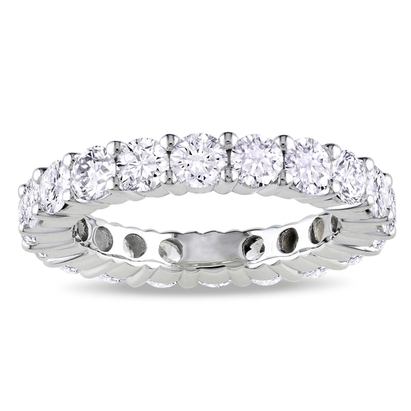 Miadora Signature Collection 18k White Gold 3ct TDW Certified Diamond Eternity Ring (G-H, I1-I2, IGL)