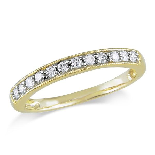 Miadora 14k Yellow Gold 1/4ct TDW Diamond Wedding Band (G-H, I1-I2)