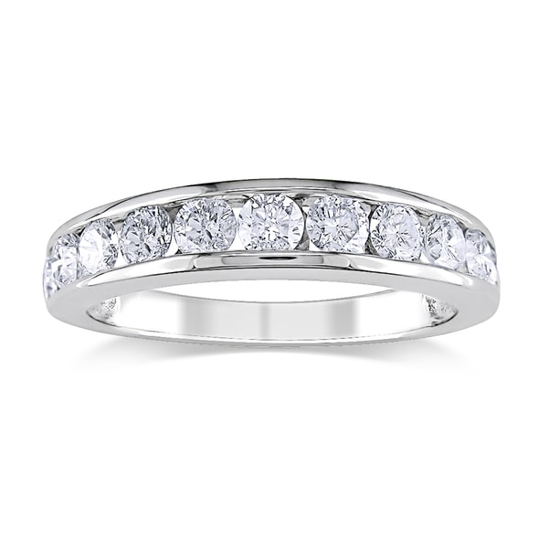 Miadora 14k White Gold 1ct TDW Certified Diamond Anniversary Ring (G-H, I1-I2)