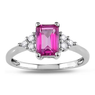 Miadora 14k White Gold Pink Topaz and 1/10ct TDW Diamond Ring (H-I, I2-I3)