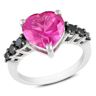 Miadora Sterling Silver Pink Sapphire and 1/2ct TDW Black Diamond Ring