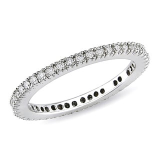 Miadora 10k White Gold 1/3ct TDW Diamond Eternity Ring (H-I, I2-I3)