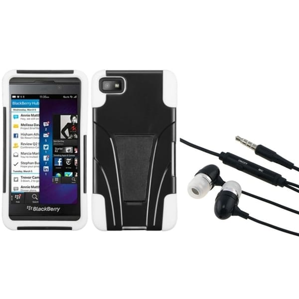 INSTEN Hands-Free Headset/ White Inverse Phone Case Cover for Blackberry Z10
