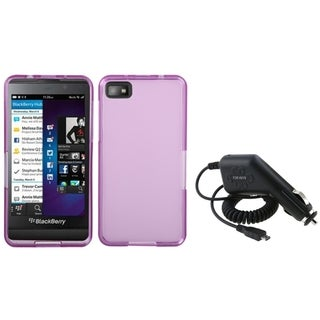 INSTEN Car Charger/ Clear Purple TPU Rubber Phone Case Cover for Blackberry Z10