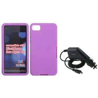 INSTEN Car Charger/ Purple Soft Silicone Phone Case Cover for Blackberry Z10