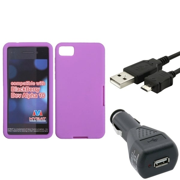 Insten Car Charger/ Micro USB Cable Cord/ Purple Silicone Soft Skin Gel Rubber Phone Case Cover for Blackberry Z10