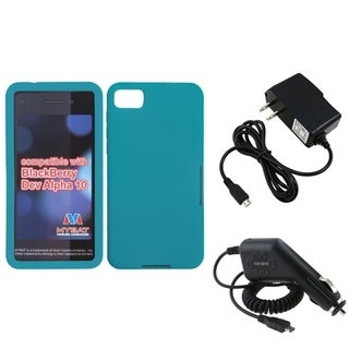 INSTEN Travel Charger/ Car Charger/ Teal Phone Case Cover for Blackberry Z10