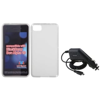 INSTEN Car Charger/ Clear White TPU Rubber Phone Case Cover for Blackberry Z10