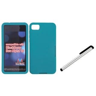 INSTEN Silver Stylus/ Teal Phone Case Cover for Blackberry Z10