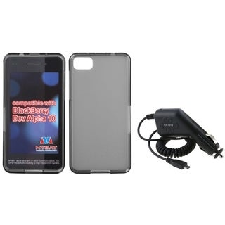 INSTEN Car Charger/ Clear Smoke TPU Rubber Phone Case Cover for Blackberry Z10