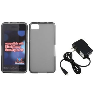 INSTEN Travel Charger/ Clear Smoke Candy TPU Phone Case Cover for Blackberry Z10