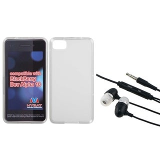 INSTEN Hands-Free Headset/ Clear White Phone Case Cover for Blackberry Z10