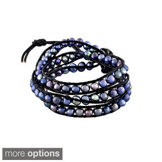 Glitzy Rocks Leather Freshwater Pearl Wrap Bracelet (6-7 mm) (2 options available)