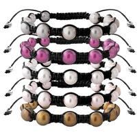 Glitzy Rocks Freshwater Pearl Black Macrame Bracelet Set (8-9 mm) (Set of 5)