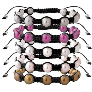 Glitzy Rocks Freshwater Pearl Black Macrame Bracelet Set (8-9 mm) (Set of 5)