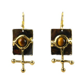 Handmade Gold Tiger Eye Ball and Jack Brass Earrings (South Africa)