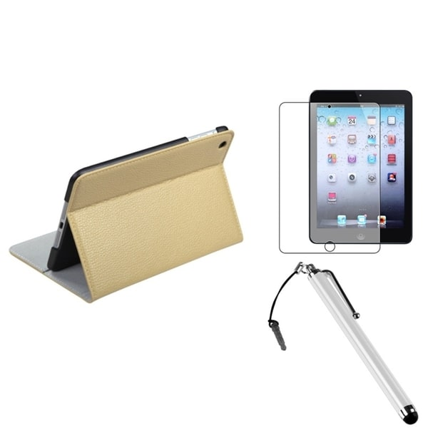 INSTEN White Leather Tablet Case Cover/ Stylus/ LCD Protector for Apple iPad Mini