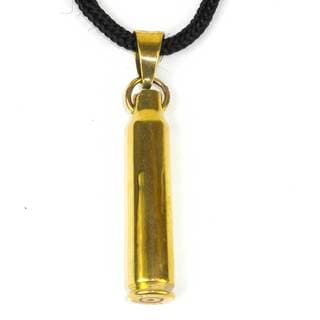 Handcrafted Reclaimed Brass Bullet Shell Pendant on Cord (Cambodia)
