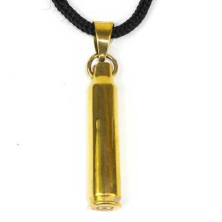 Handmade Reclaimed Brass Bullet Shell Pendant on Cord (Cambodia)