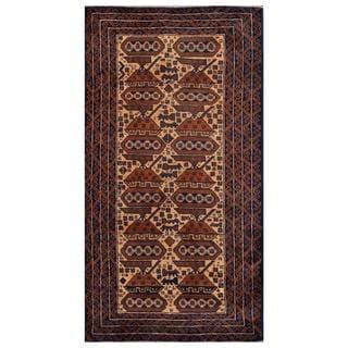 Herat Oriental Afghan Hand-knotted Tribal Balouchi Brown/ Dark Blue Wool Rug (3'6 x 6'8)