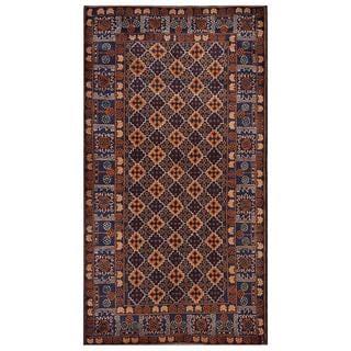 Herat Oriental Afghan Hand-knotted Tribal Balouchi Brown/ Dark Blue Wool Rug (3'7 x 6'8)
