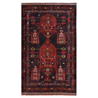 Herat Oriental Afghan Hand-knotted Tribal Balouchi Wool Rug (3'9 x 6'2)