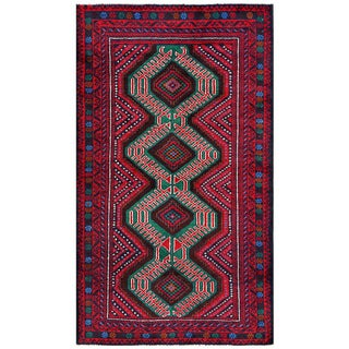 Herat Oriental Afghan Hand-knotted Tribal Balouchi Red/ Green Wool Rug (3'5 x 6'1)