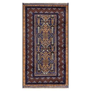 Herat Oriental Afghan Hand-knotted Tribal Balouchi Wool Rug (3'7 x 6'7)