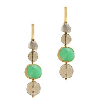 Michael Valitutti Gold over Silver Green Onyx, Smoky Quartz and Labradorite Earrings