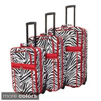 World Traveler Designer Zebra Prints 3-piece Expandable Luggage Set