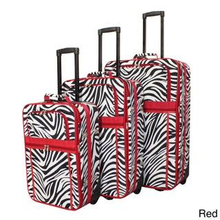 World Traveler Designer Zebra Prints 3-piece Expandable Luggage Set