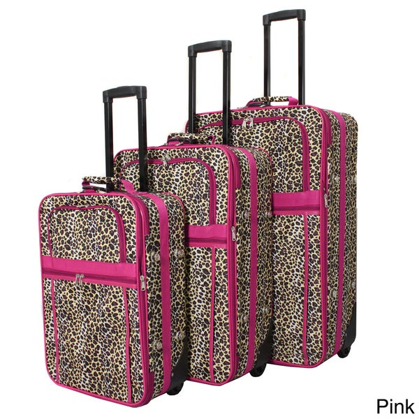 World Traveler Designer Leopard Print 3-piece Expandable ...