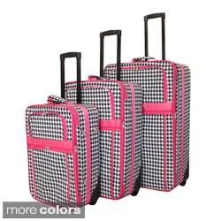 World Traveler Designer Houndstooth Print 3-piece Expandable Luggage Set