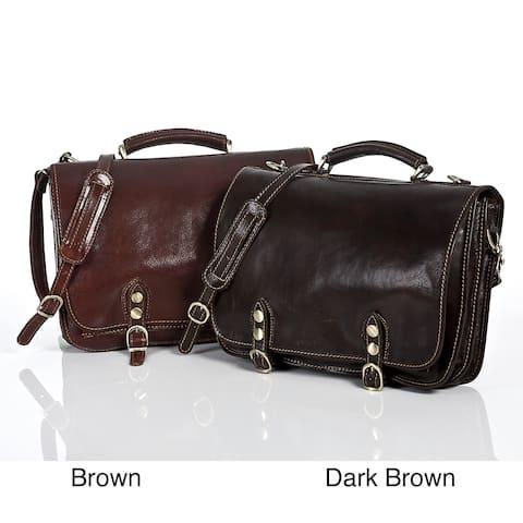 Alberto Bellucci Men's Italian Leather Comano Double Compartment Messenger Satchel Bag