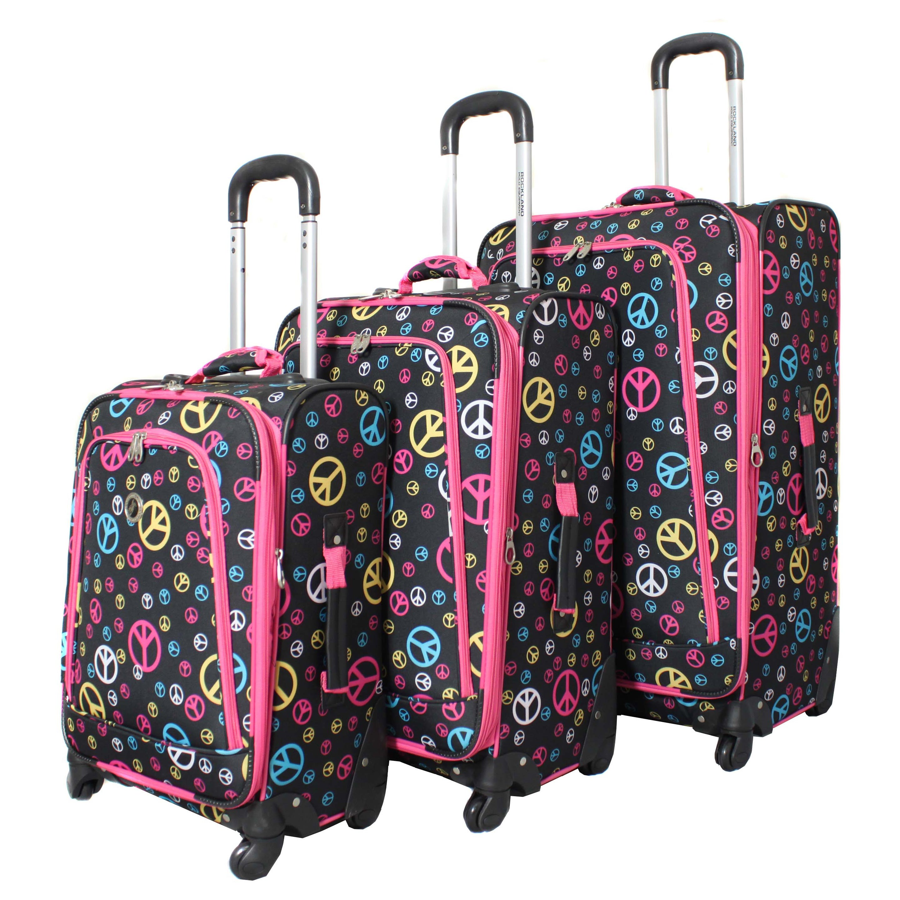 Rockland Deluxe Peace 3-piece Spinner Upright Luggage Set...