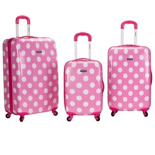 Rockland Designer Pink Polka Dot 3-piece Lightweight Hardside Spinner Luggage Set