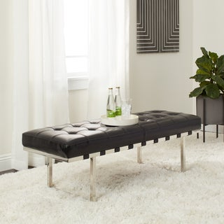 Andalucia Stainless Black Leather Button-tufted Bench