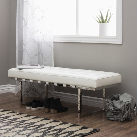 Jasper Laine Andalucia White and Stainless Steel Modern Leather Button-tufted Bench