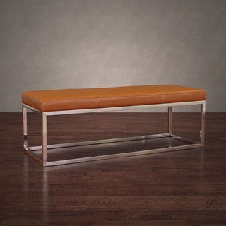 manhattan tan and stainless steel leather bench   free